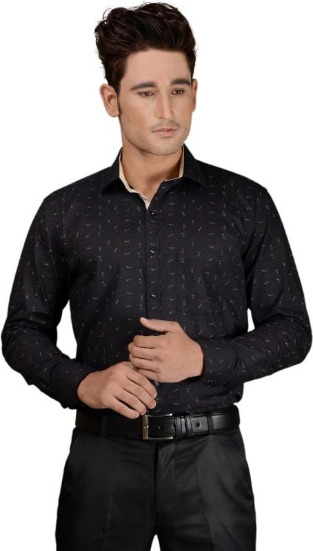 Zeal Men's Printed Formal Brown, Beige Shirt