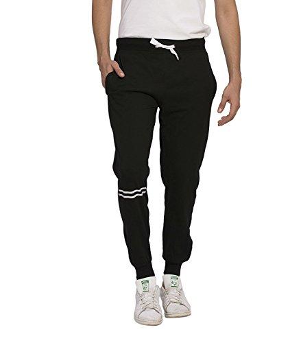 Alan Jones Slim Fit Cotton Printed Joggers (JOG-TRIM-XXL_XX-Large_Black)