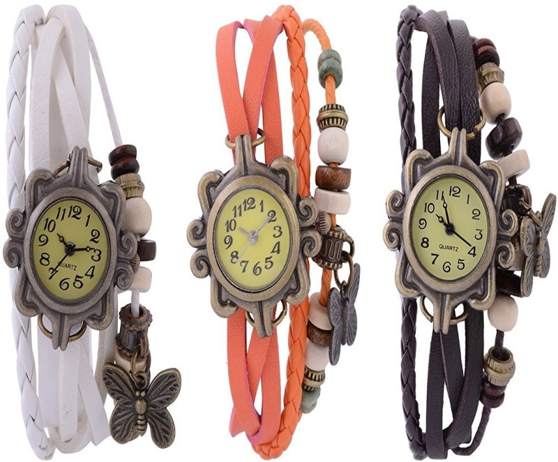 ROKCY Rokcy Vintage Look Butterfly Analogue Beige Dial Girls' Watch Combo, Pack of 3 – BFLY_wi,or,br – For Girls Watch  – For Women