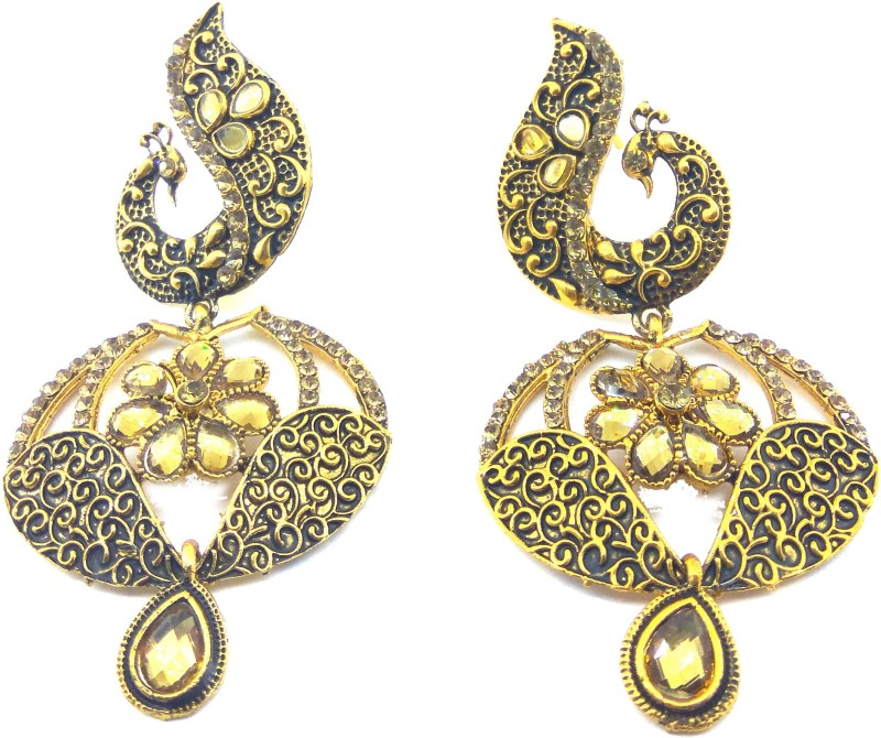 Jaisvi collection Trendy Golden Colour Peacock style Earrings For Women And Girls Alloy Drop Earring