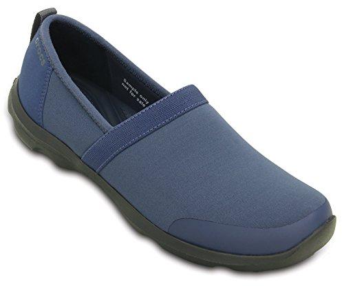 crocs Women's Duet Busy Day 2.0 Satya A-Line Bijou Blue/Graphite Fashion Mary Jane Flats – W7(201884-43R)
