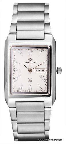 maxima analog white dial mens watch 23221cmgi -