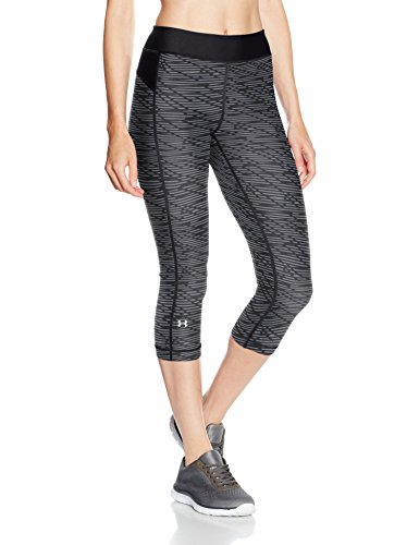 Under Armour HeatGear Armour Printed Capri Women's Sports Leggings (1297906_Black and Anthracite_X-Large)