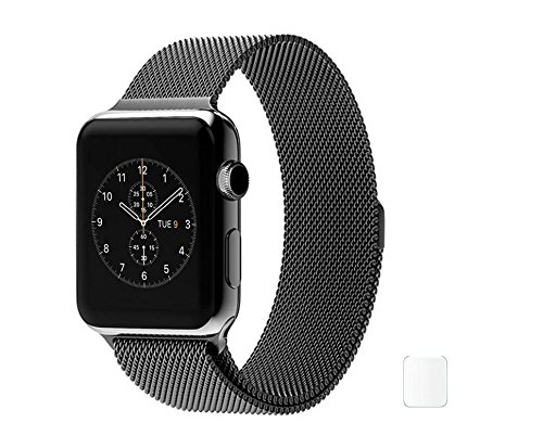 Brain Freezer Stainless Steel Replacement Watch Milanese Loop Band Strap Magnetic Lock Bracelet for Apple Watch iWatch 38mm – Black (watch not included )