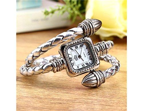 Stylish Gift Lady Women Girl Snake Style Bangle Bracelet Quartz Wrist Watch (Silver)