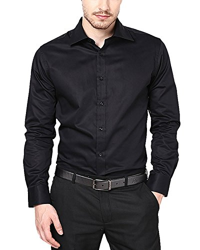 SWISSCOTT Men's 100% Cotton Satin Slim Fit Party Wear Formal Shirts ( 2 Colours ) (36, Black)