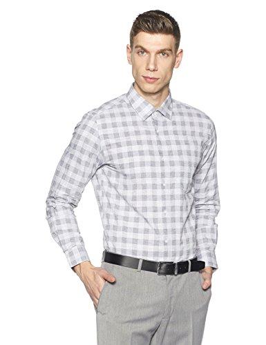 Diverse Men's Checkered Slim Fit Cotton Formal Shirt (DVF01F2L01-268-42_Black_42)