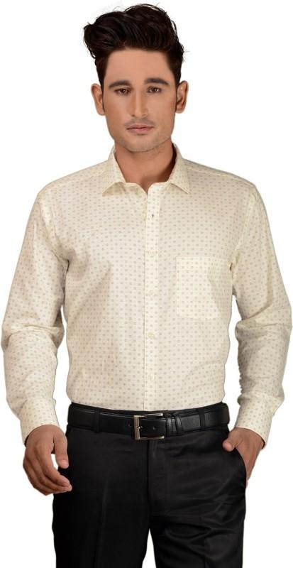 Zeal Men's Printed Formal White Shirt