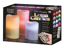 Luma Candles Real Wax Flame less Candles 3 LED Candles Plus Remote Control Timer