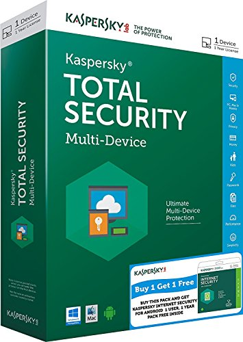 Combo Pack- Kaspersky Total Security – 1 User, 1 Year (CD) + Kaspersky Internet Security for Android (Chance to win Rs.1000 Amazon Gift voucher)