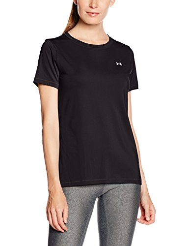 Under Armour Heat Gear Armour Short Seeve Women's Body Blouse Top (1285637_Black and Metallic Silver_Small)