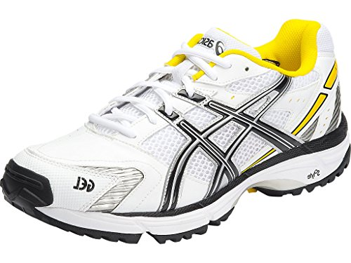 ASICS Men's Gel-Hardwicket 5 White, Black and Yellow Cricket Shoes – 11 UK/India (46.5 EU) (12 US)