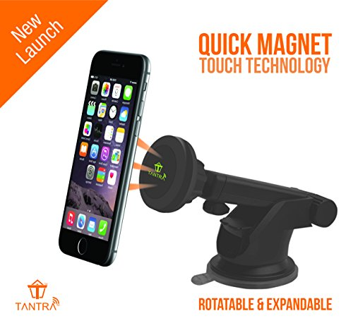 Tantra Twister Smart Universal Mobile Phone Holder, Mobile Stand for Car (Car Mount) with Quick Magnet Touch Technology (Expandable & Rotatable) with Double Shift Locking for Windscreen, Dashboard & Table Desk (Black)