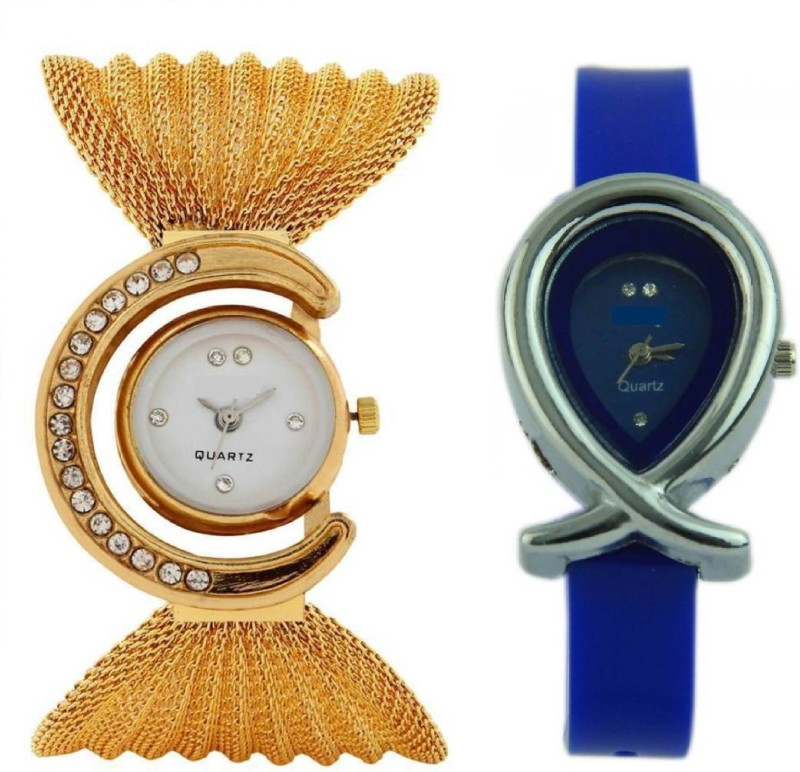 DV ENTERPRISE GOLD BUTTERFLY AND BLUE FISH ANALOG WATCH COMBO(GIRLS-WOMENS) Hybrid Watch  – For Women