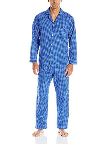 Hanes Men's Broadcloth Pajama Set, Blue Check, X-Large
