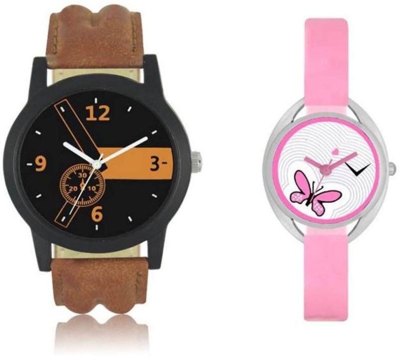 FASHION POOL LOREM & VALENTINE MOST STYLISH & STUNNING ROUND DIAL COUPLE COMBO WATCH WITH BLACK & ORANGE COLOR WATCH WITH OVAL DIAL BABY PINK COLOR BUTTERFLY DESIGN WATCH WITH PEARL WHITE COLOR WATER MARK DIAL GRAPHICS WATCH WITH BABY PINK COLOR WATCH WITH LEATHER & RUBBER TRENDY, COOL & FASHIONABLE