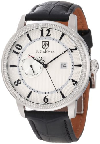 S. Coifman Men's SC0191 Silver Textured Dial Black Leather Watch