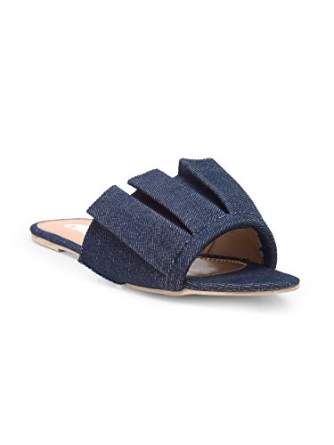 chalk studio ruche blue denim sandals -