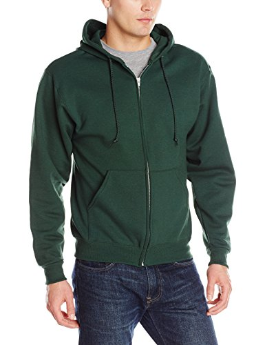 Jerzees Men's Adult Full Zip Hooded Sweatshirt X Sizes, Forest Green, 3X