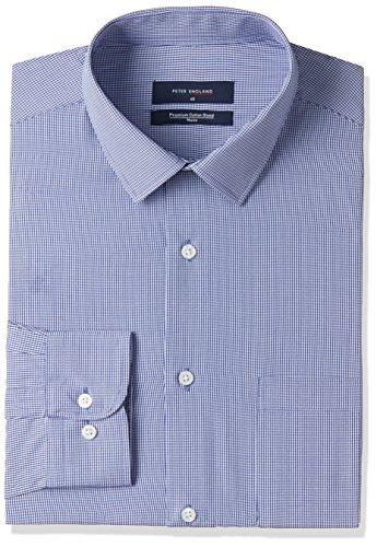 peter england mens checkered regular fit cotton formal shirt -