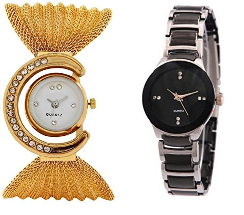 DV ENTERPRISE GOLD BUTTERFLY AND IIK BLACK WOMEN ANALOG WATCH FOR GIRLS OR WOMENS