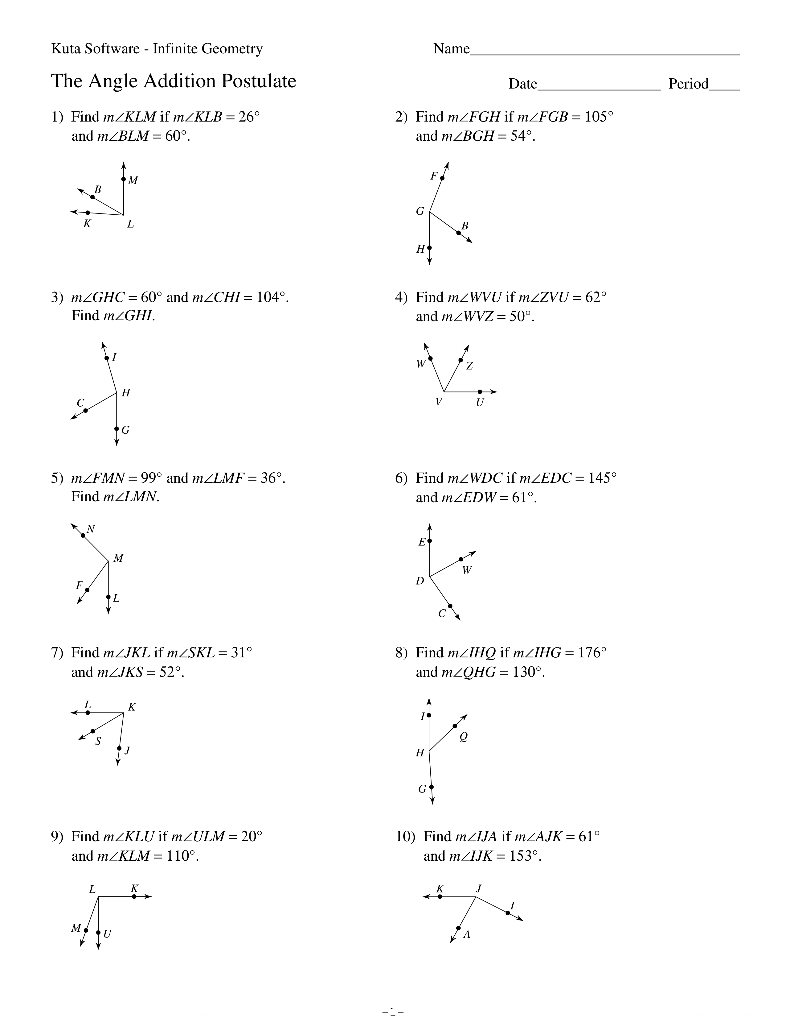 1 1 Angle Addition