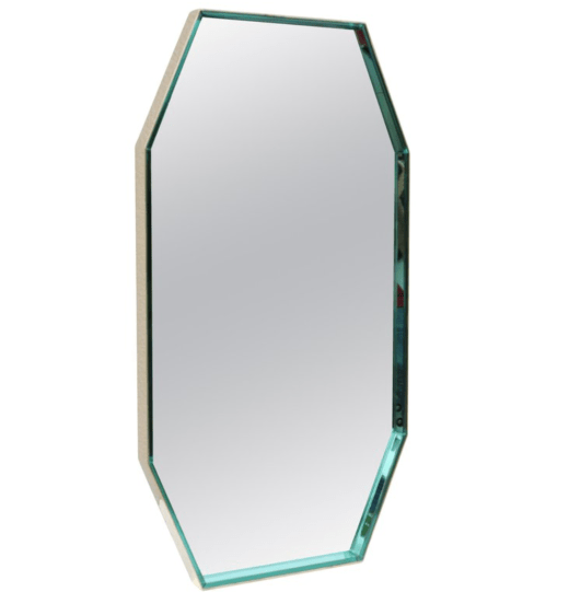 Octagon Mirror with Brass Frame