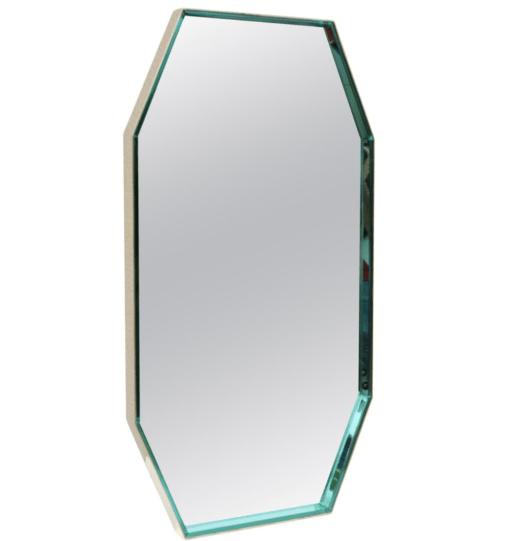 Octagon Mirror with Brass Frame