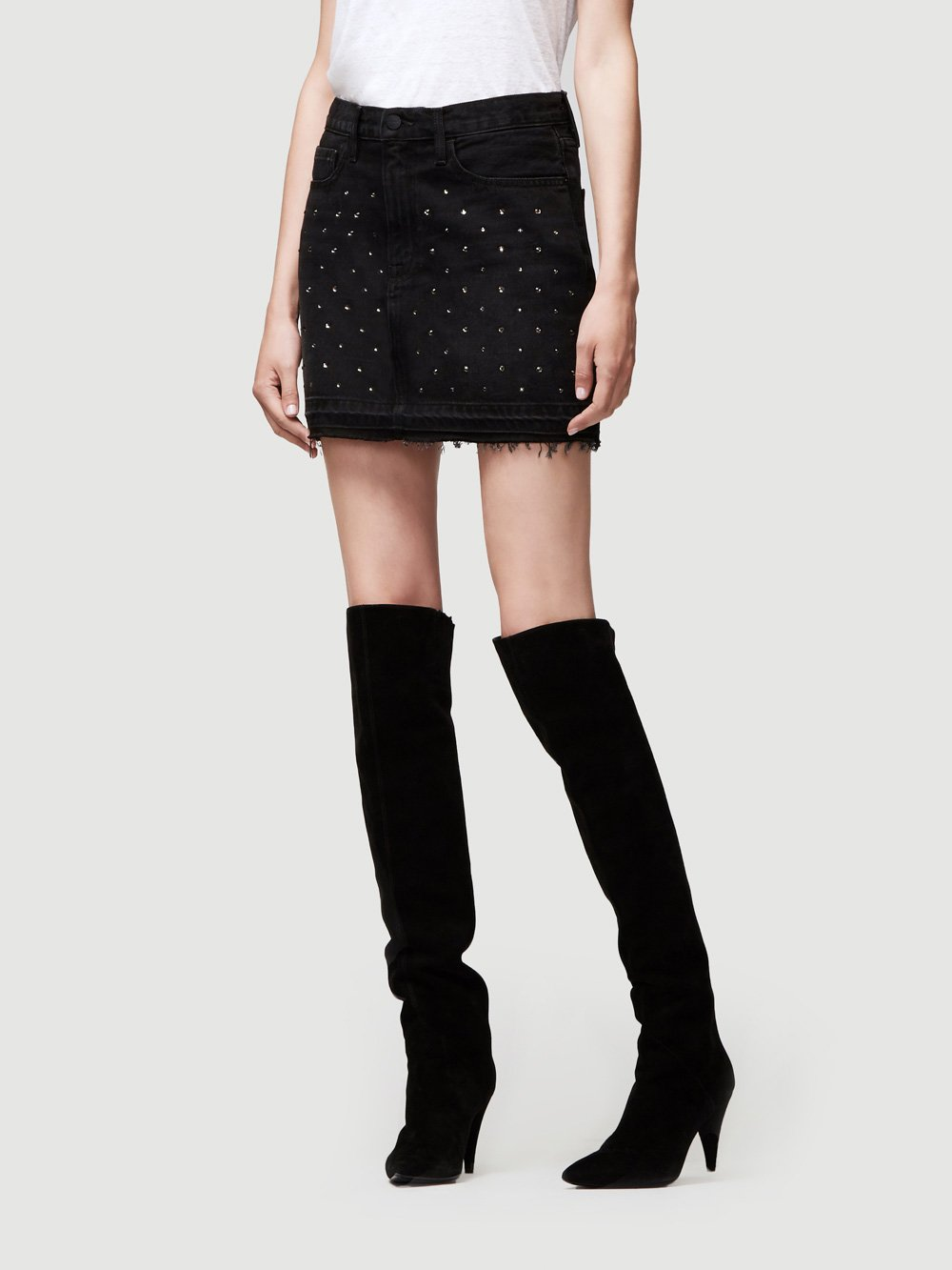 FRAME Le Mini Skirt Embellished Studs in Silver Nitrate