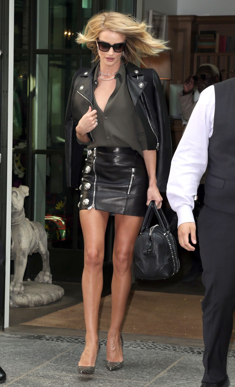 studded skirt, leather, mini skirt