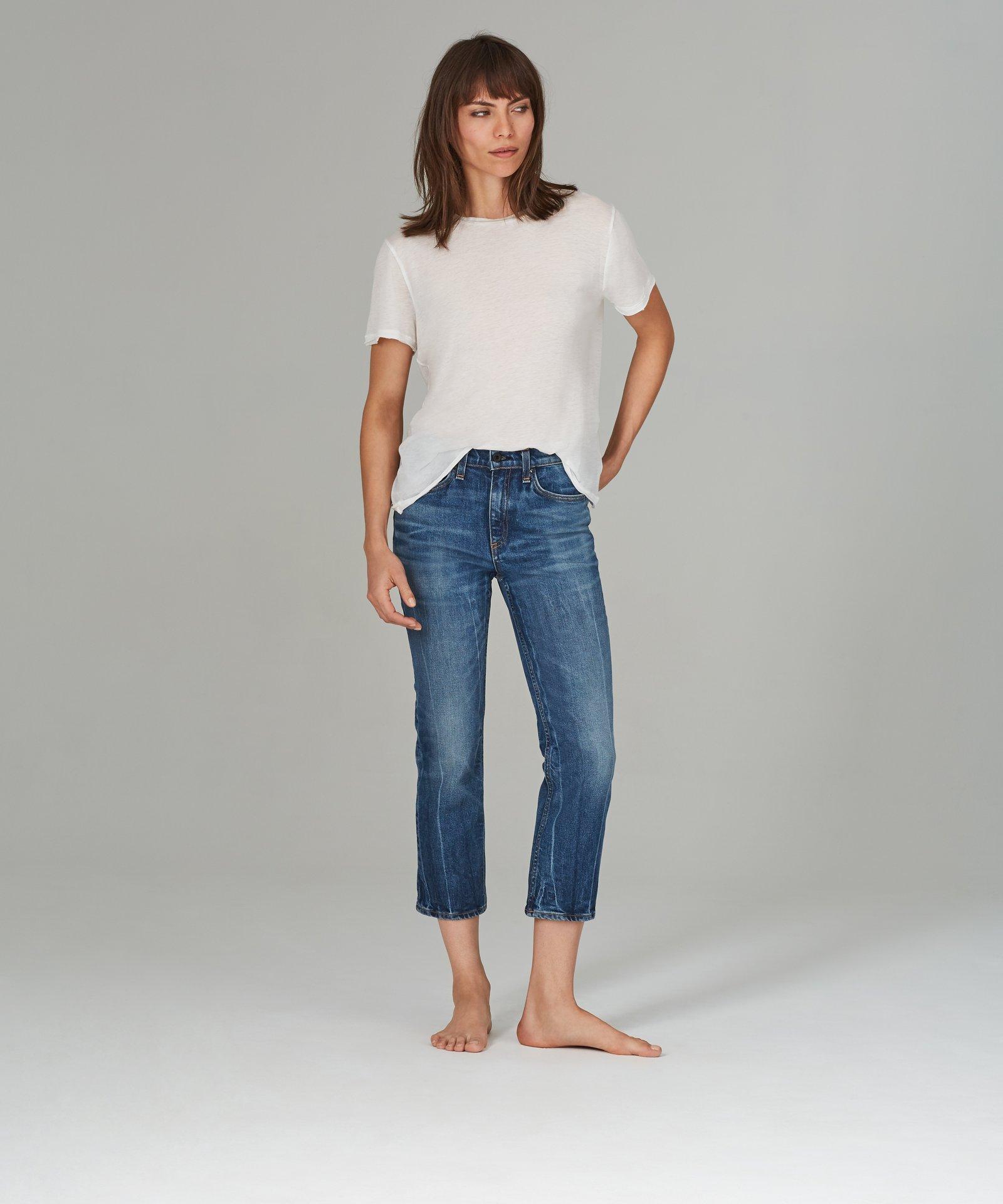 slim jeans, straight leg jeans, medium blue, marbled denim, cropped jeans, askk ny