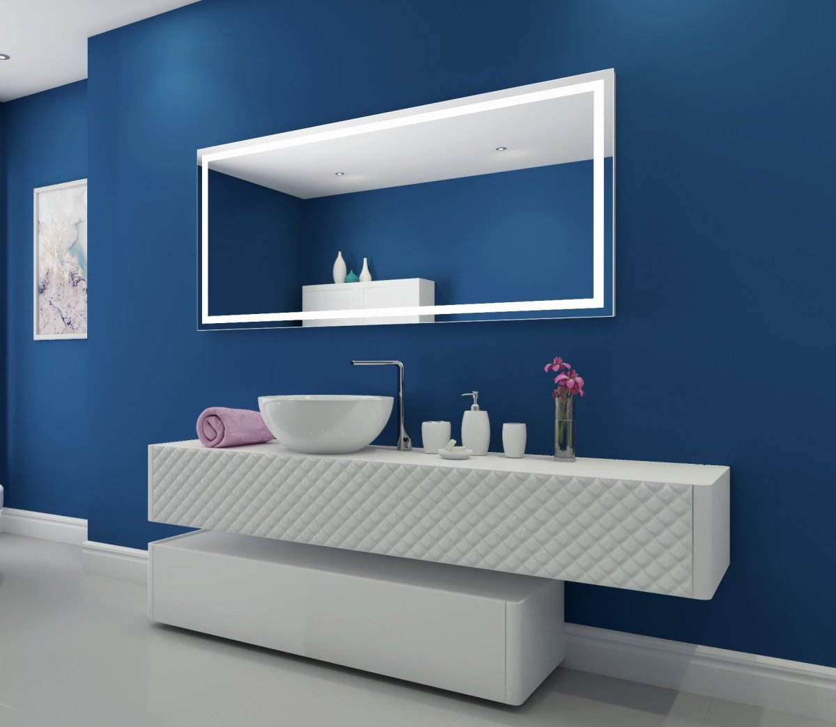 illuminated, bathroom, mirror, double vanity