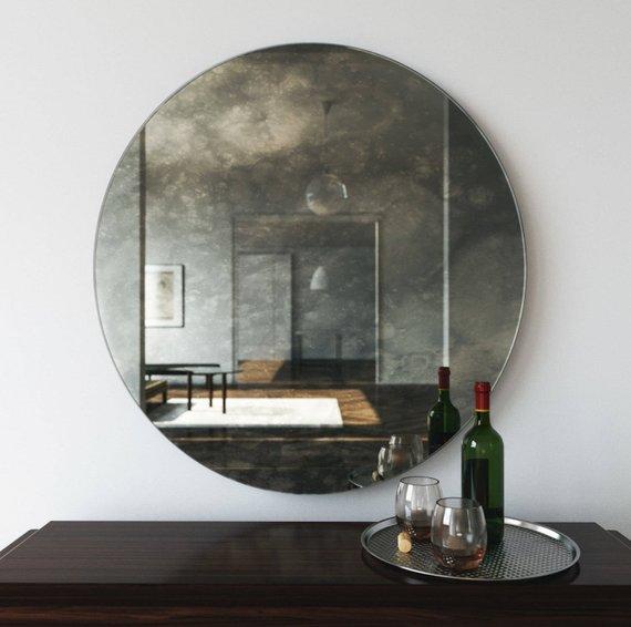 antiqued mirror, round mirror