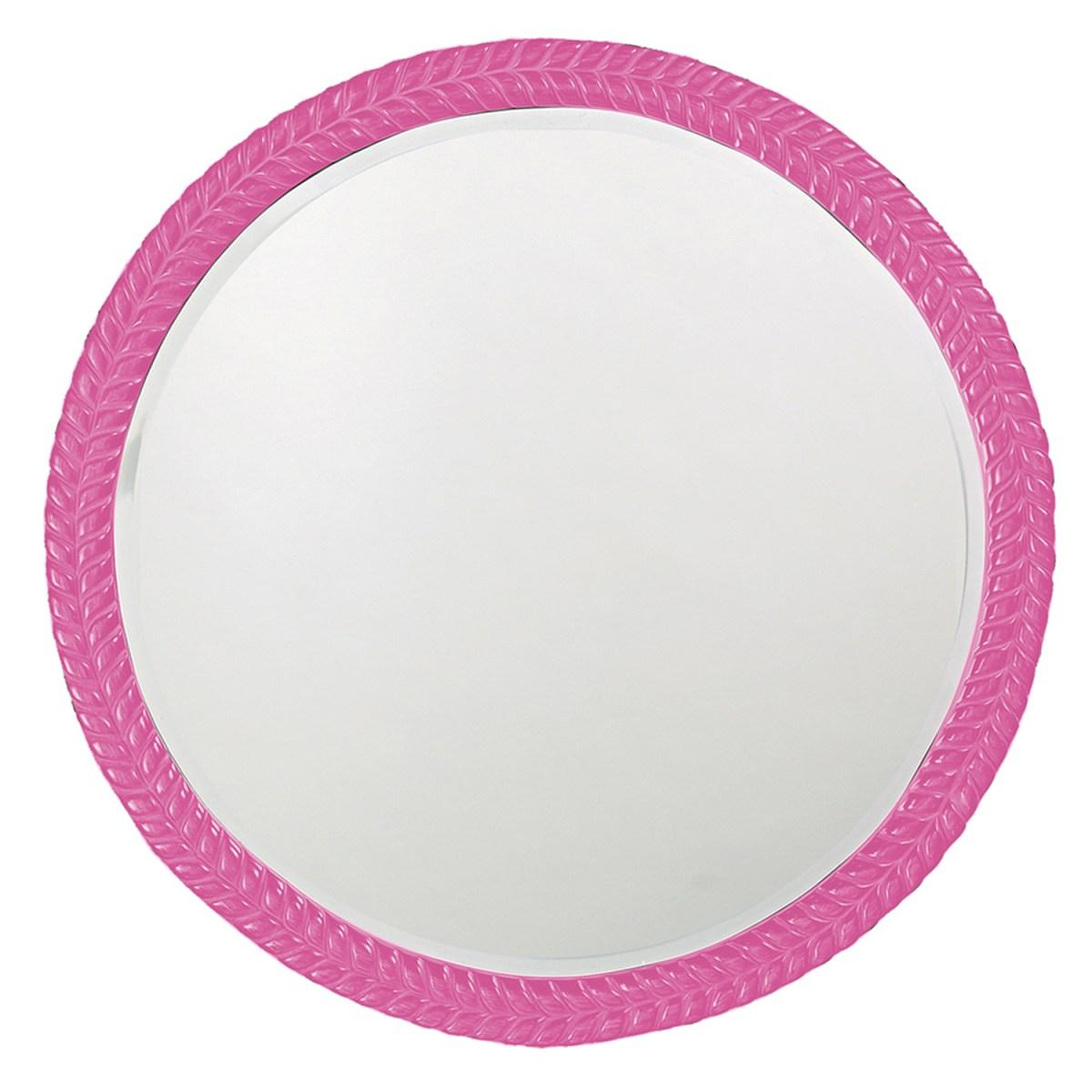pink mirror, pink framed mirror