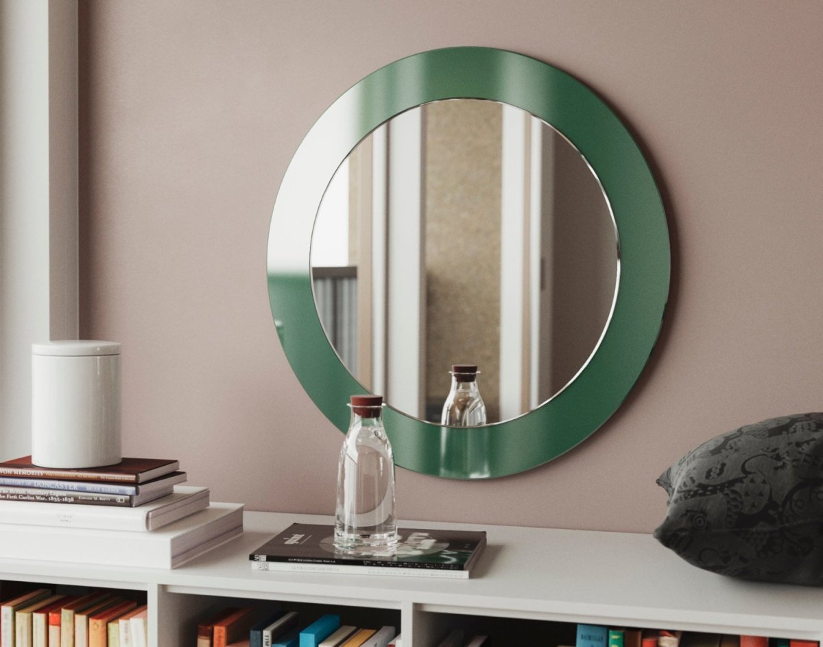 deco mirror, green mirror, custom round mirror