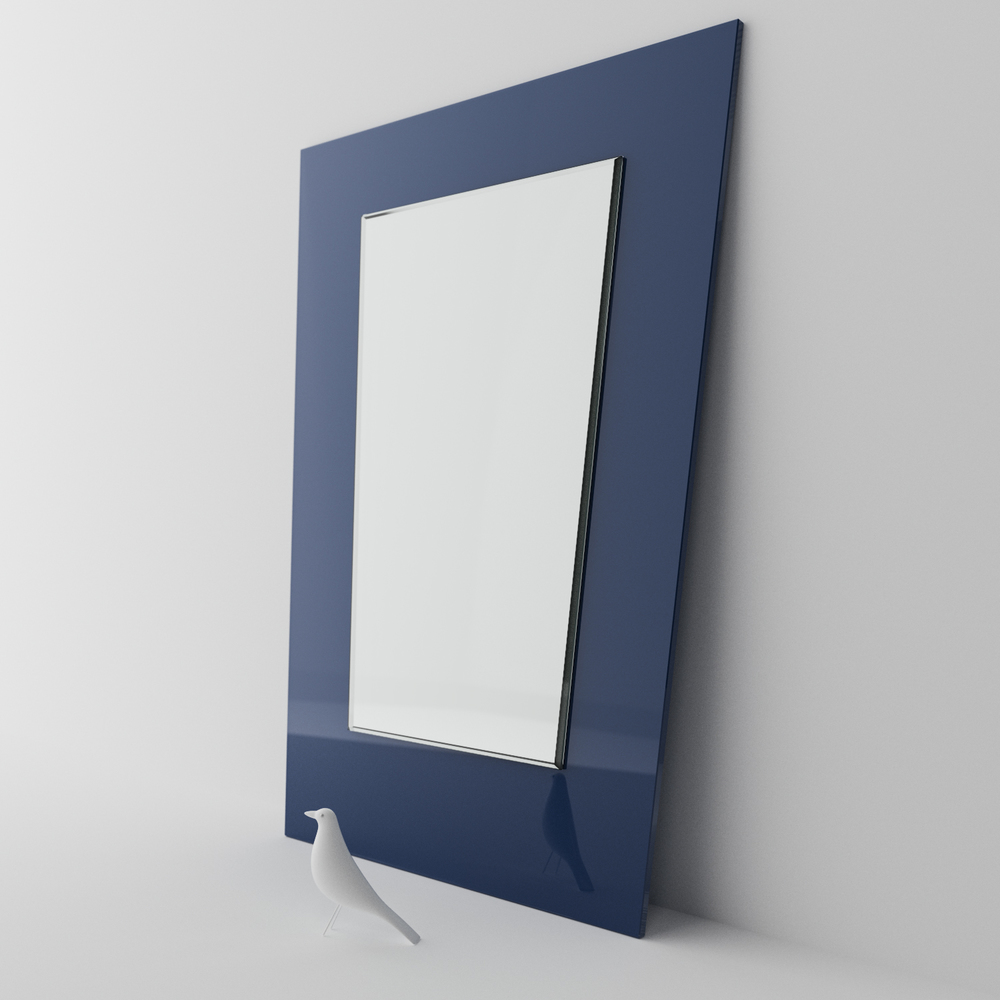 blue mirror, midcentury mirror, Our Navy Blue Glass Mirror