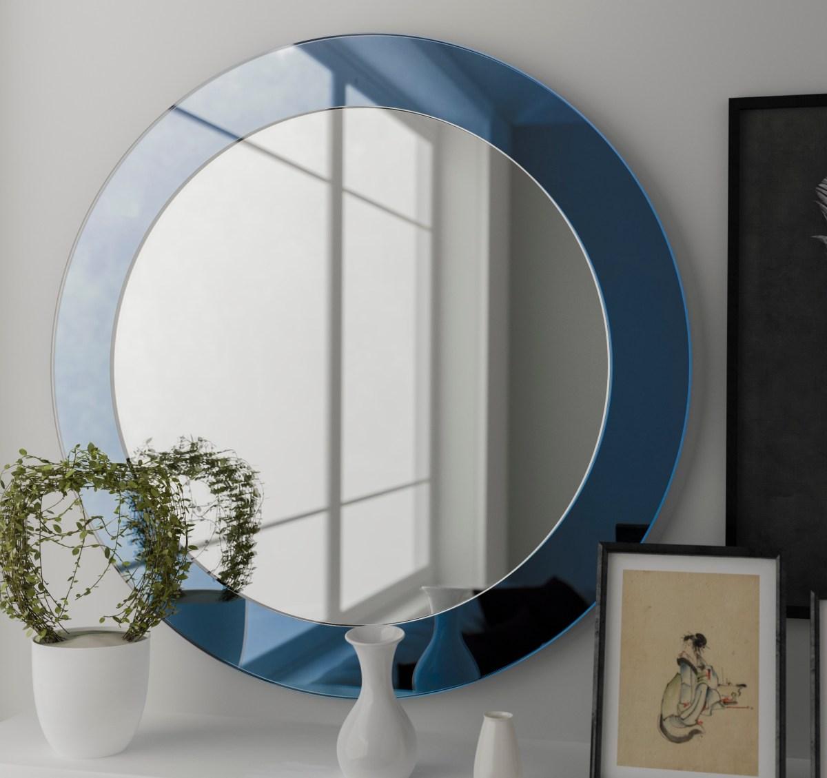 blue mirror, light blue mirror, frameless mirror
