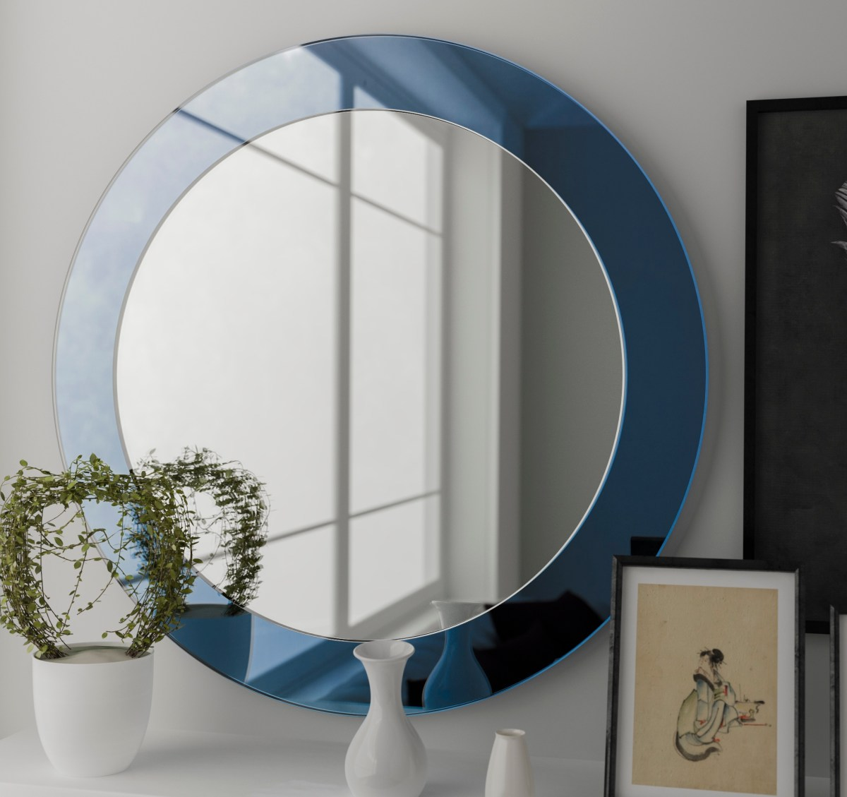 blue mirror, light blue mirror, frameless mirror