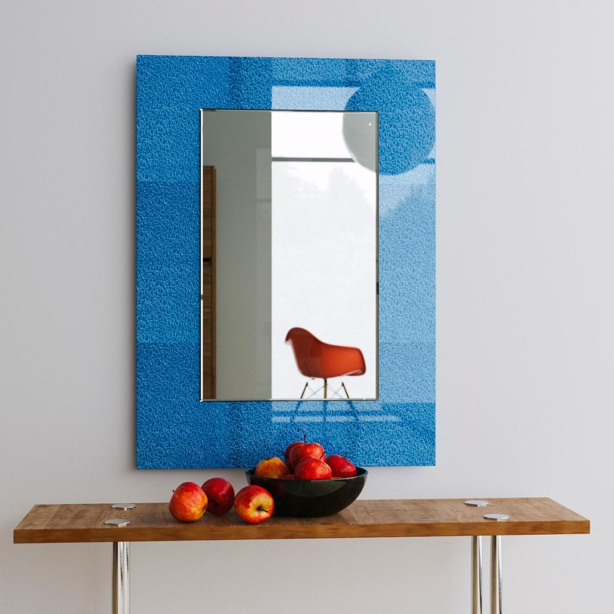 italian style mirror, blue mirror, italian modern mirror
