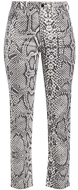 The High-Rise Scaled Python-Print Cigarette Jeans