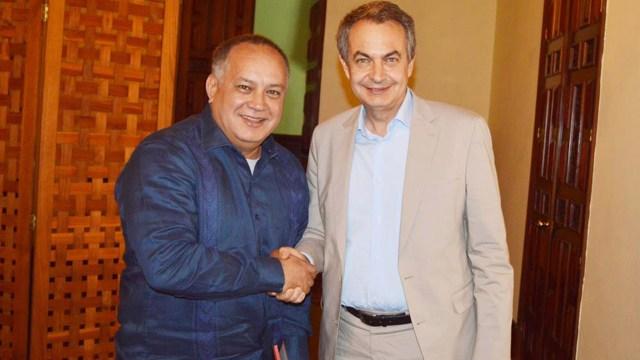 El poderoso líder chavista Diosdado Cabello y José Luis Rodríguez Zapatero. (@DrodriguezVen)