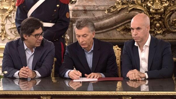 Mauricio Macri junto a Garavano y Rodríguez Larreta