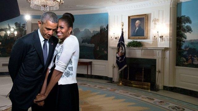 Barack Obama y Michelle Obama en la Casa Rosada (Imagen de archivo)