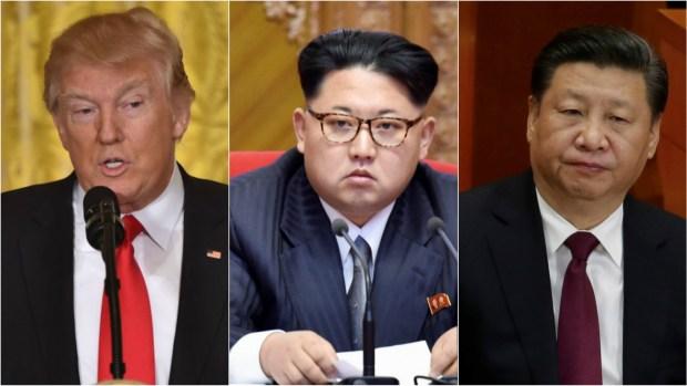 El presidente estadounidense Donald Trump, el dictador norcoreano Kim Jong-un y el mandatario chino Xi Jinping