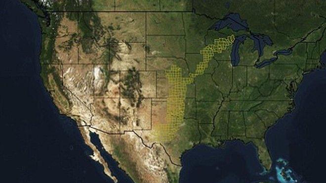 Un mapa del clima en la región muestra el área afectado por las tormentas