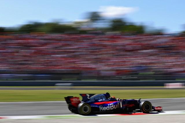 El español Carlos Sainz de la escudería Toro Rosso, a toda velocidad