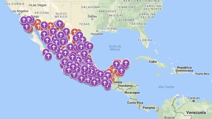 Así se ve el mapa del feminicidio en México. (Imagen Google)
