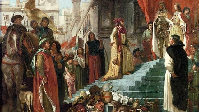 Colón se presenta ante los Reyes Católicos al regresar de su viaje