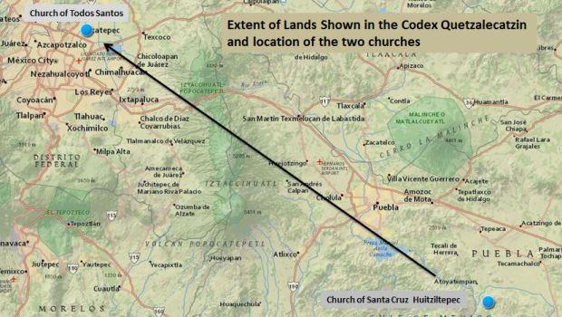 Algunas zonas que ilustra el Códice Quetzalecatzin se pueden reconocer hoy. (LOC)
