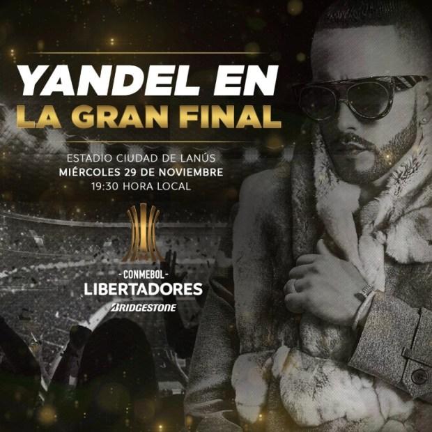 El cantante Yandel será el encargado del show en la previa al partido (@Conmebol)